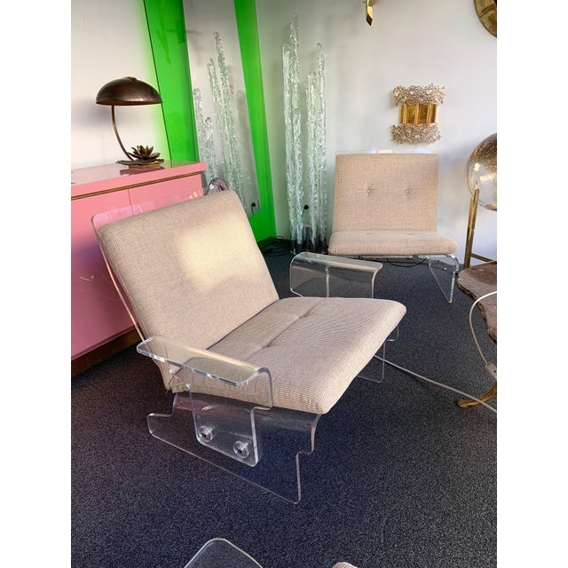 Charles Hollis Jones Pair of Lucite Armchairs by Baumann, Germany, 1970s For Sale - Image 4 of 13