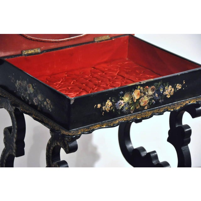 19th Century French Hand-Painted and Gilt Three-Piece Set, Chairs and Matching Table, With Mother-Of-Pearl For Sale - Image 5 of 10