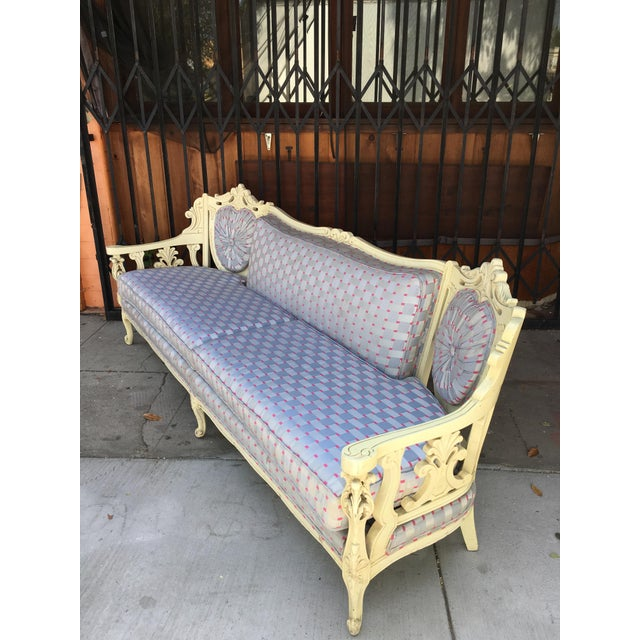 Vintage Shabby Chic Style Sofa For Sale - Image 9 of 13