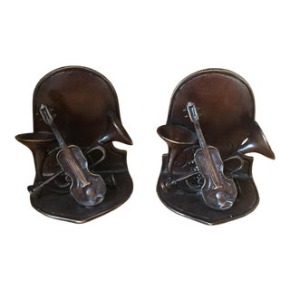 Musical Instruments Bookends - a Pair For Sale