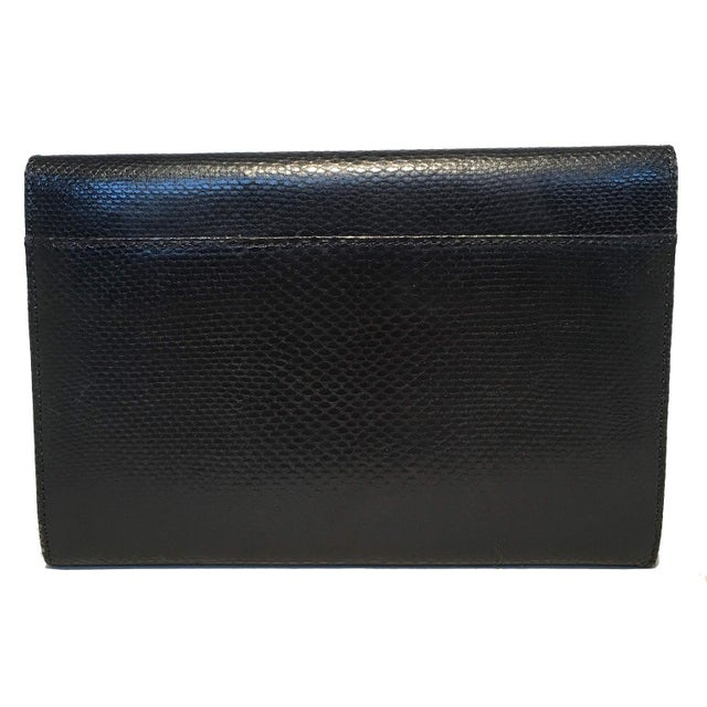 Contemporary Judith Leiber Black Lizard Wallet Wristlet Clutch For Sale - Image 3 of 10