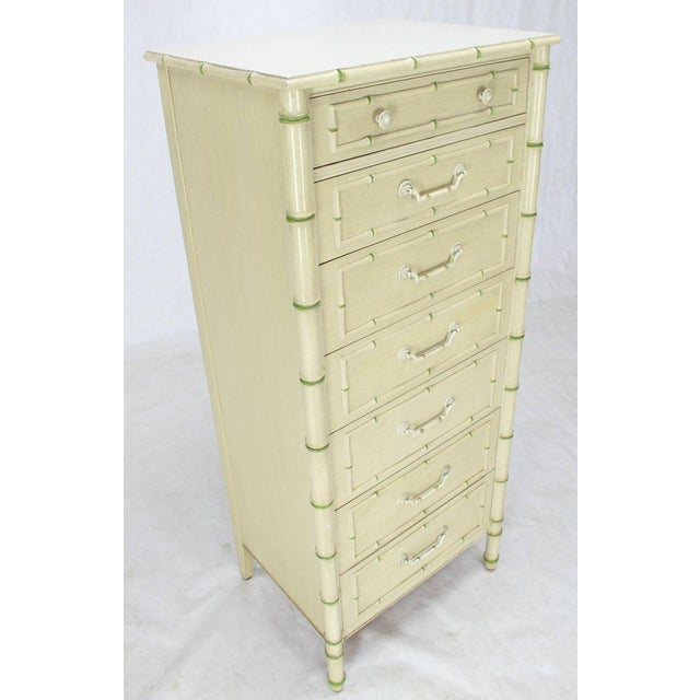 Mid-Century Modern Tall Faux Bamboo Decorated Seven Drawers Lingerie High Chest Dresser For Sale - Image 3 of 9
