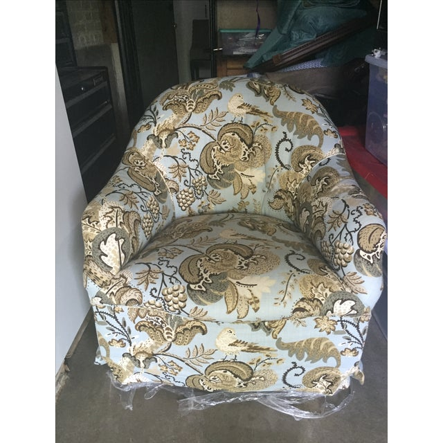 Chair & Ottoman in Schumacher Clarendon Fabric - Image 6 of 6