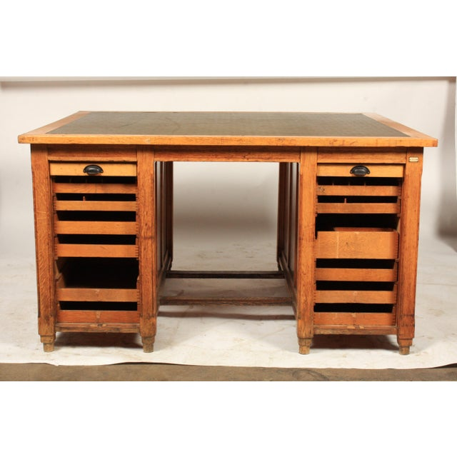 1930s Newspaper Office Partners Desk For Sale - Image 11 of 13