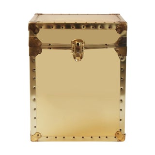 Sarried-Style Brass Trunk Side Table For Sale