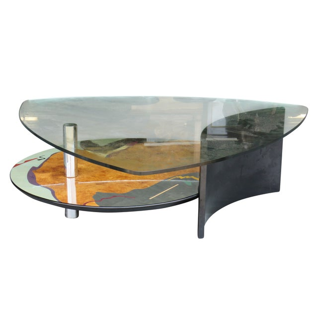 Memphis Style Modern Design Glasstop Coffee Table - Image 1 of 3