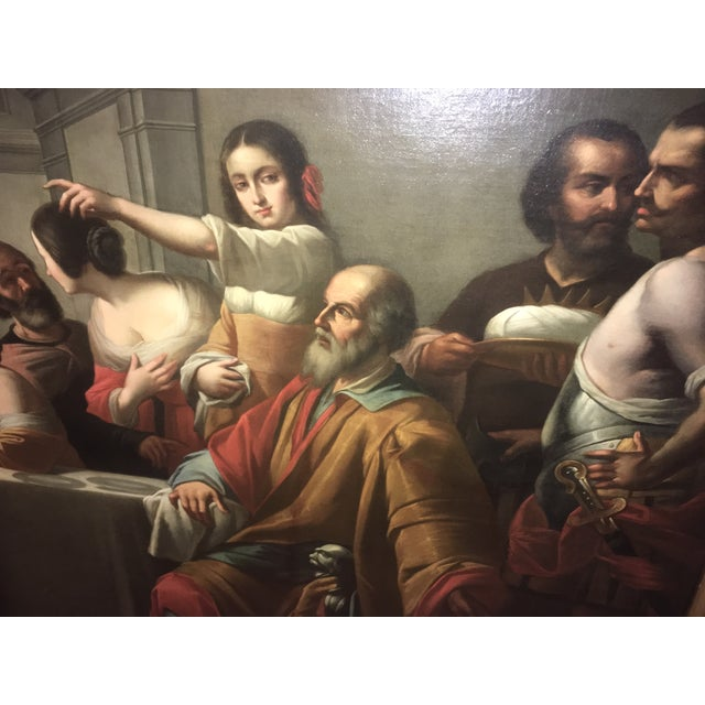 1859 Le Festin De Balthazar Oil Painting For Sale - Image 10 of 10