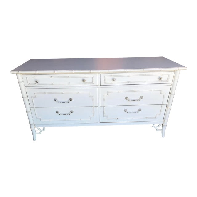 Vintage Thomasville Faux Bamboo Six Drawer Dresser For Sale
