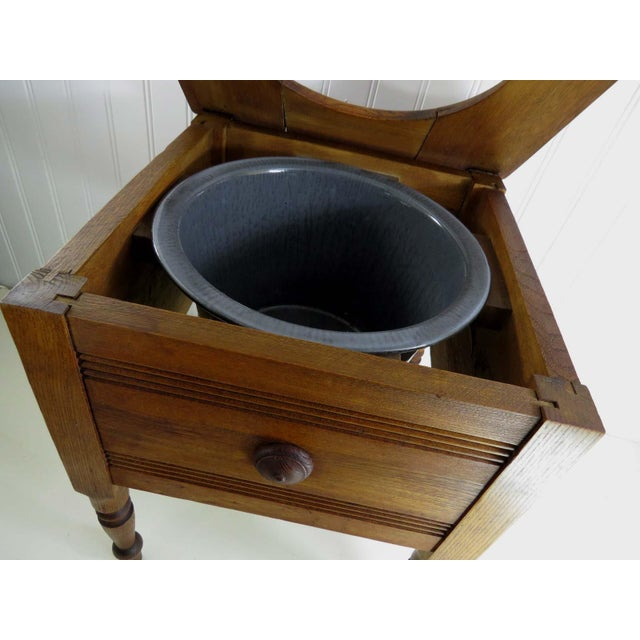 Antique Oak Potty Chair Planter - Image 4 of 10