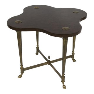 Brass & Burlwood Side Table For Sale