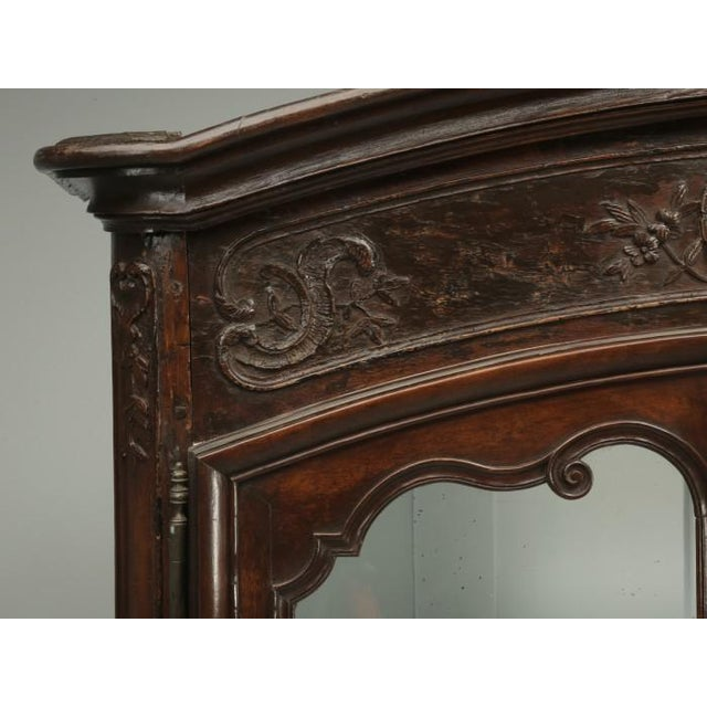 Antique French Walnut Armoire or China Cabinet For Sale In Chicago - Image 6 of 13