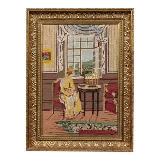 C.1920 Watching The Birds Framed Embroidery For Sale