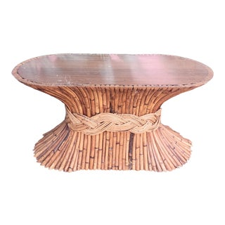 Vinage McGuire Bamboo Oval Braided Small Coffee Table For Sale