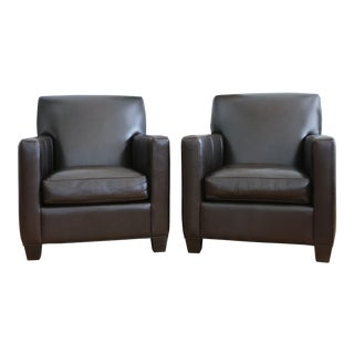 Crate and Barrel Leather Club Chairs - A Pair For Sale