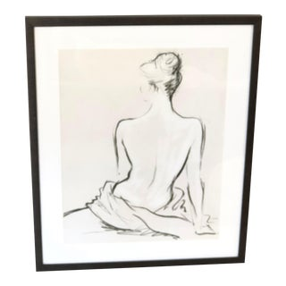 Seated Nude Black Ink Sketch For Sale