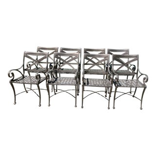 Woodard Landgrave Cast Classics Landgrave Patio Porch Outdoor Dining Chairs- Set of 8 For Sale