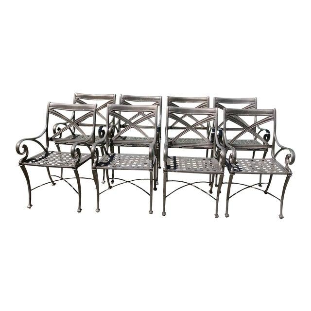 Woodard Landgrave Cast Classics Landgrave Patio Porch Outdoor Dining Chairs- Set of 8 For Sale