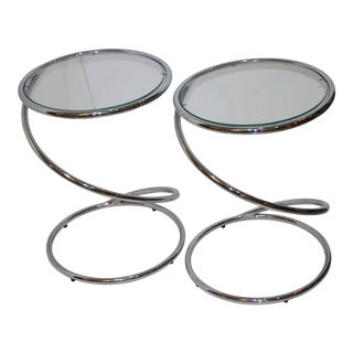 "Round ""Spring"" Tables in Polished Chrome and Glass by Leon Rosen for Pace - a Pair For Sale"