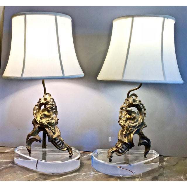 Pair 18th C. Figural Chenets Lamps For Sale - Image 9 of 9
