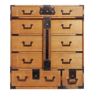 Antique Japanese Merchants Chest with Incised Iron Hardware from the Late 1800s For Sale