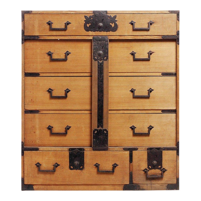 Antique Japanese Merchants Chest with Incised Iron Hardware from the Late  1800s For Sale - Excellent Antique Japanese Merchants Chest With Incised Iron
