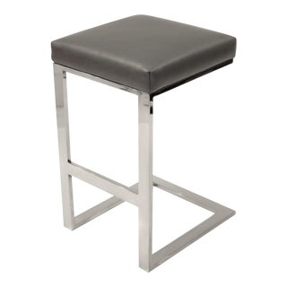 Hot Toddy Bar Stool Charcoal Leather For Sale