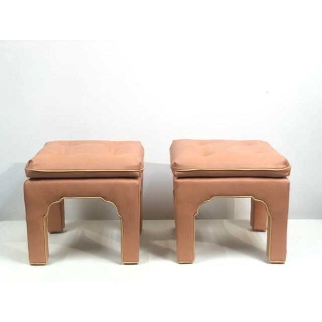 Vintage Hollywood Regency Billy Baldwin Pink Upholstered Ottoman Set- a Pair For Sale In Buffalo - Image 6 of 11