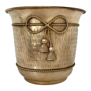 Vintage Brass Flower Cache Pot With Bow Detail For Sale