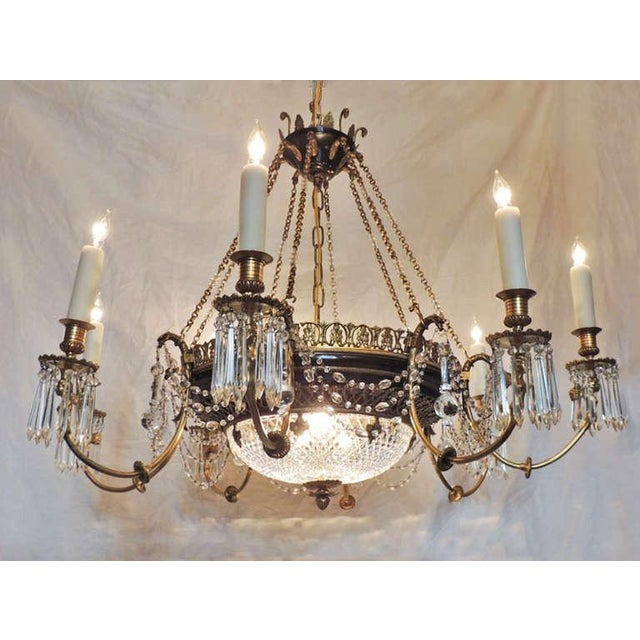Empire Late 19th C French Empire Bronze and Crystal Chandelier For Sale - Image 3 of 10