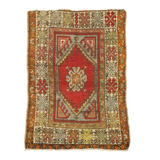 Distressed Vintage Turkish Oushak Rug - 02'08 X 03'09 For Sale