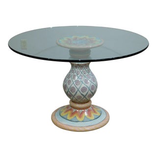 """Mackenzie Childs Hand Crafted Painted Pottery 48"""" Round Glass Top Dining Table For Sale"""