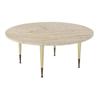 Italian Modern Round Travertine Top Coffee Table on Tapered Metal Legs Base For Sale