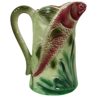1920s French Majolica Fish Pitcher