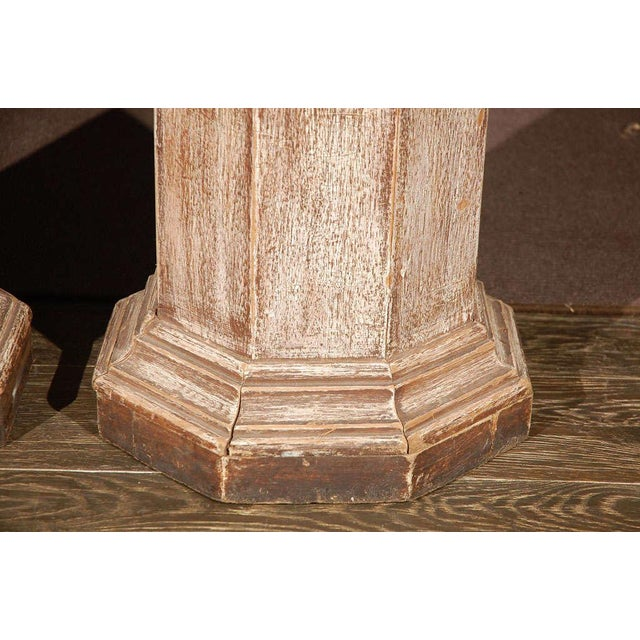 Pair of Octagonal Beveled Top Columnar Plinths From 19th Century England For Sale - Image 4 of 8