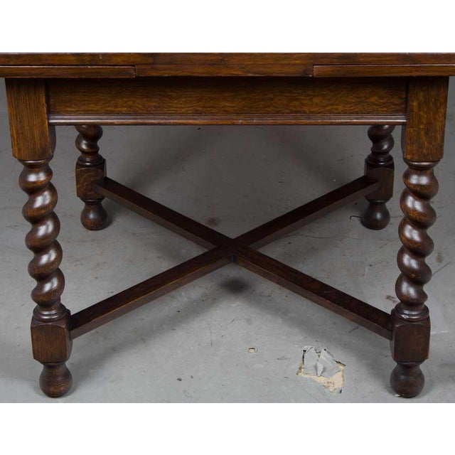 1920s English Traditional Barley Twist Oak Pub Table For Sale - Image 4 of 10