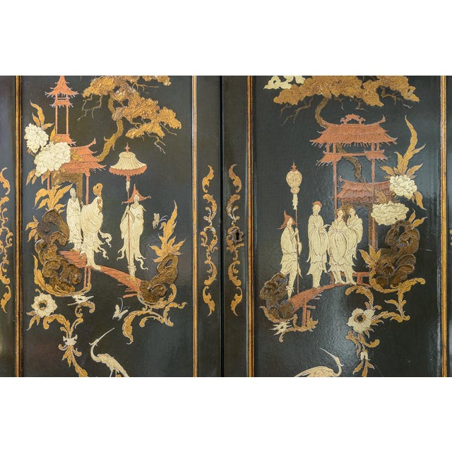 Chinoiserie Chippendale Style Hunter Green & Gilt Lacquered Secretaire For Sale - Image 11 of 13