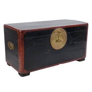 Antique Chinese Lacquered Trunk For Sale