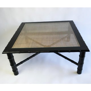 McGuire Style Bamboo and Rattan Glass Topped Coffee Table Preview