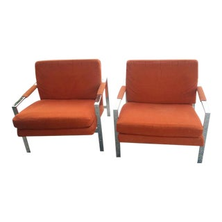 Carsons Vintage Chrome Orange Cube Arm Lounge Chairs - a Pair For Sale