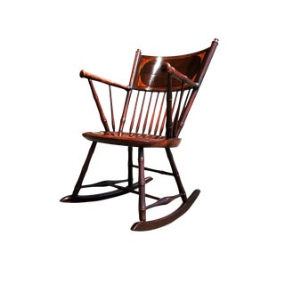 1920s Antique Federal Style Faux Bamboo Rocking Chair For Sale