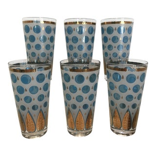 Cera Blue and Gold Tapered Highball Glasses - Set of 6