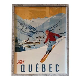 Framed Steve Thomas Ski Quebec Poster, Artist Signed For Sale