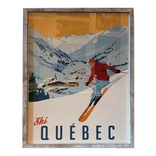 Framed Steve Thomas Ski Quebec Poster, Artist Signed For Sale