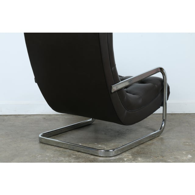Chrome Italian Leather Chair and Ottoman For Sale - Image 7 of 11