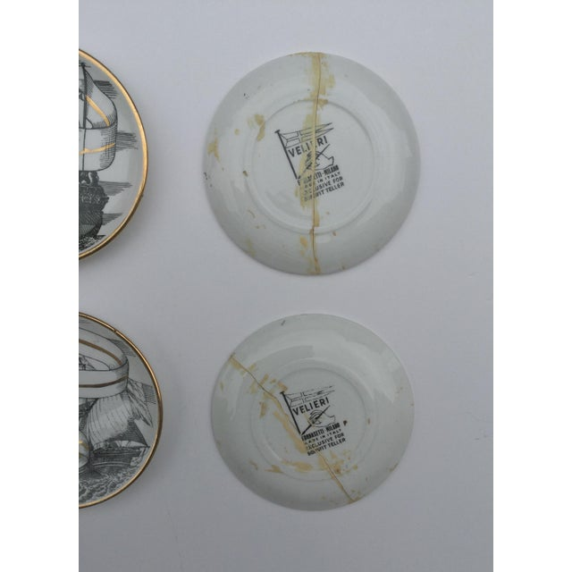 Mid 20th Century Mid Century Italian Piero Fornasetti for Bonwit Teller Tall Ship Coasters - Set of 8 For Sale - Image 5 of 6