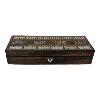 Inlaid Mother of Pearl Rosewood English Cribbage Box For Sale