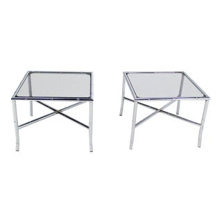 Pair of Chrome Faux Bamboo X Base End Tables with Smoked Glass Tops For Sale