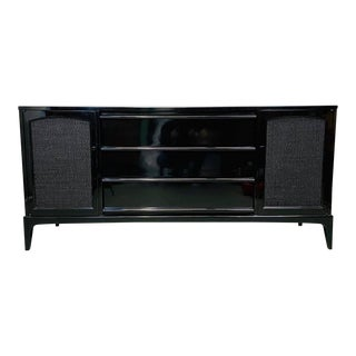 1960s Lane Rhythm Mid Century Modern Long Low Black Lacquer Credenza For Sale