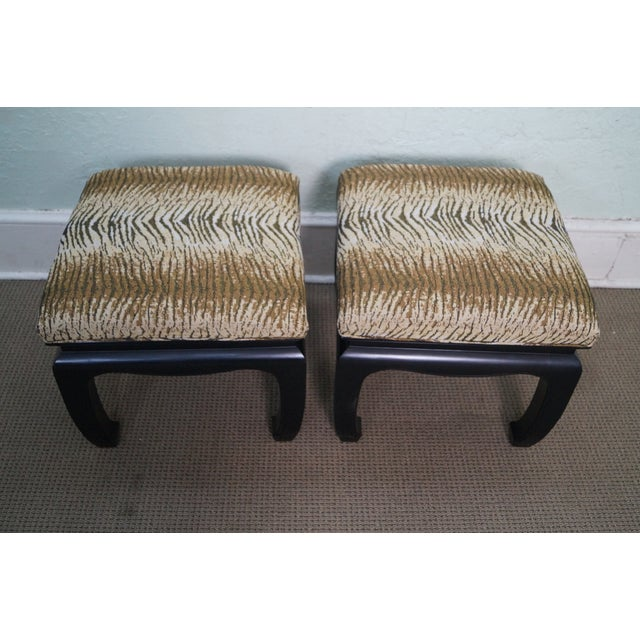 Ebonized Asian Influenced Ottoman/Benches - A Pair - Image 3 of 10