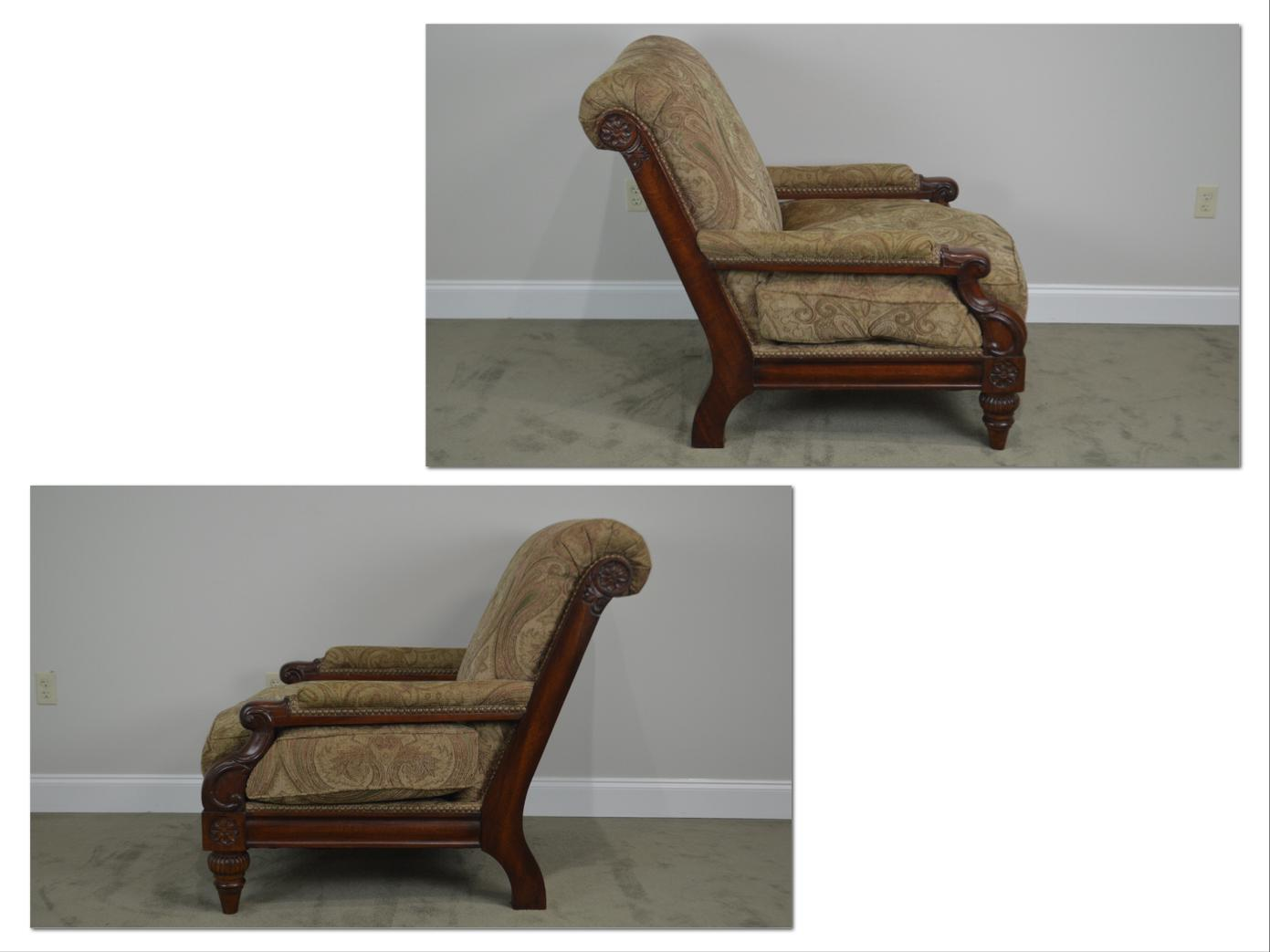 *STORE ITEM #: 18681 Cibola Regency Style Large Pair Solid Mahogany Custom  Upholstered Lounge